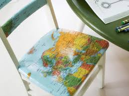 upcycle plain kids chair with decoupaged map hgtv bpf original map decoupage chairs step apply second coat