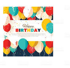 happy birthday greeting card in a flat style stock vector
