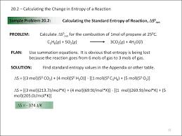 Standard Entropy Change Table Chapter 20 Thermodynamics Presentation