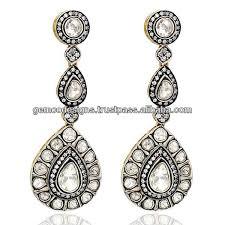 danglers earrings design pave set diamond dangler earrings diamond designer jhumka