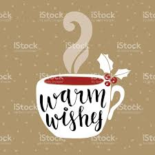 new year greeting card handwritten warm wishes text coffee