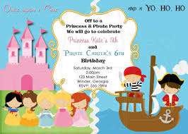 Princess Birthday Invitation Cards Pirate And Princess Birthday Invitation Digital File