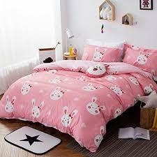 light pink and white bedding girls light pink white bunny rabbit duvet cover full queen set cute