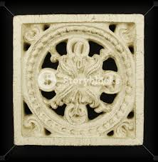 ornate wood carving ornament on black background royalty free
