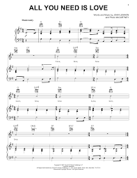 Beatles Quotes Love by All You Need Is Love Sheet Music Direct