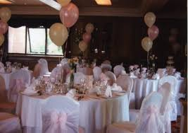 Pink Chair Sashes Chair Covers With Pale Pink Sashes And Balloons To Match Set Up In