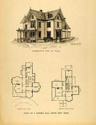 Victorian Mansion Floor Plans 1878 Print Victorian Villa House Architectural Design Floor Plans
