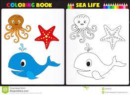 coloring book sea life stock vector image 39008045