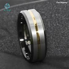 free wedding band atop 8mm men s wedding band silver brushed black edge tungsten