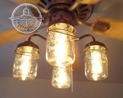 Kitchen Fan Light Fixtures by Rustic Mason Jar Ceiling Fan Light Kit Only With Vintage Pints