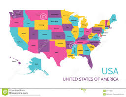 Images Of The United States Map by Usa United States Of America Colored Vector Map With The