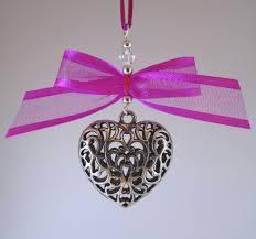 silver tone tibetan heart fuchsia pink satin edge ribbon bow