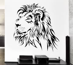 compare prices on lion wall papers online shopping buy low price home decoration lion wall decal tribal zoo animal vinyl stickers art mural home decor living room