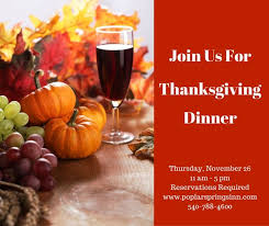 thanksgiving dinner at poplar springs inn spa manor house