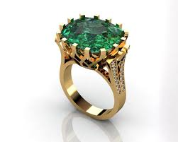 emerald 3d printable model green emerald ring green stone ring
