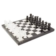 White Chess Set Size Small Black Marble And White Onyx Chess Board Set 8