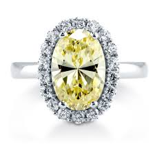 canary yellow engagement ring sterling silver oval canary yellow cubic zirconia cz halo