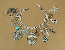 charm bracelet charms sterling silver images Charm bracelet navajo and zuni charms sterling silver curb chain jpg