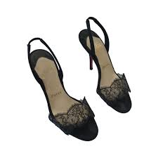 christian louboutin black heels with lace trim size 5 5 black