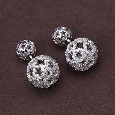 earrings brand luxury brand new aaa cubic zirconia clear big and small