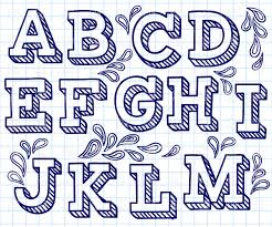 hand drawn font shaded letters and decorations 29198 download