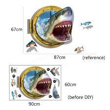 children cute 3d ocean shark wall sticker removable home kids room