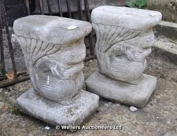 Bench Supports A Pair Of Concrete Simulated Stone Bench Supports In The Form Of