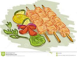 chicken kebabs vegetables drawing stock vector image 65225666