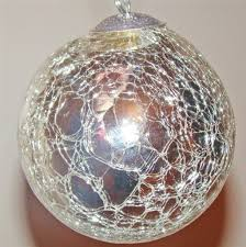 ornaments kugel style silver crackle