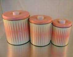 pink kitchen canister set three retro canisters vintage canister set 1960s canisters