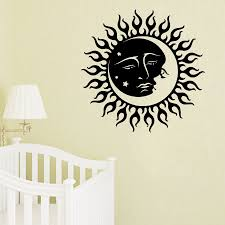 wall decals sun moon crescent dual ethnic stars night symbol wall decals sun moon crescent dual ethnic stars night symbol sunshine vinyl decal sticker mural bedroom