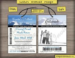 custom ski pass wedding invitations from winnipeg canada empire