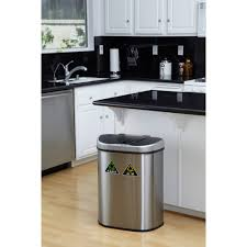 Kitchen Island With Garbage Bin Nine Stars 18 5 Gallon Motion Sensor Recycle Unit And Trash Can