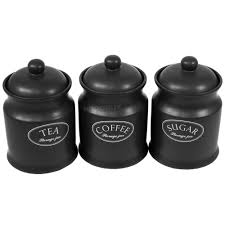 ascot black ceramic tea coffee sugar canisters kitchen storage