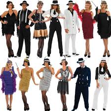 1920s Halloween Costumes 20s Fancy Dress Mens Ladies 1920s Gangster Costume Womens