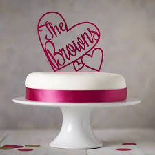 heart cake topper personalised heart wedding cake topper by