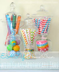 home decor with glass apothecary jars