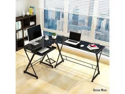Corner Laptop Desk L Shape Corner Computer Desk Pc Glass Laptop Table Workstation