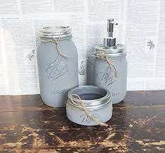 amazon com bathroom accessories gray mason jar bathroom set