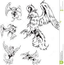 flying birds tattoo designs predatory bird tattoos stock image image 24914211