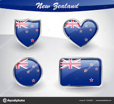 Flag New Zealand Glossy New Zealand Flag Icon Set U2014 Stock Vector Themoderncanvas