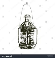 drawing ships lantern an old fashioned ships stock illustration