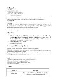 marketing resume format mba fresher resume format doc marketing finance and sle