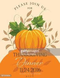 fall pumpkins thanksgiving dinner invitation template vector