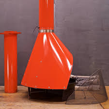 1970s free standing preway kiva orange freestanding fireplace at