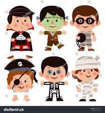 mummy halloween costumes for girls set cartoon characters halloween children dressed stock vector