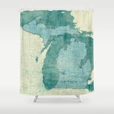 Of Michigan Curtains Michigan State Map Blue Vintage Shower Curtain By Hubertroguski
