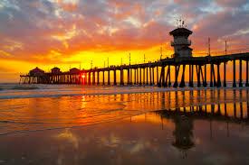 Sunset Orange by Orange County Piers California Beaches