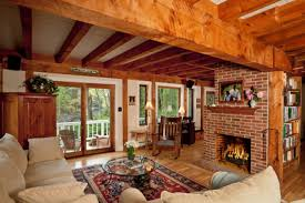 colorful rustic living room ideas brown tile brick fireplace white