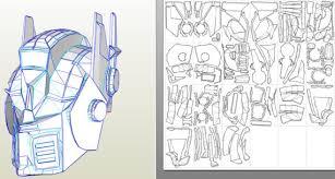 transformers optimus prime helmet blueprints of 3 d model for